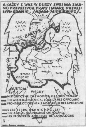 """Grenzforderungen des polnischen """"Westmarken-Vereins"""" 1935 (halbamtliche Postkarte)"""