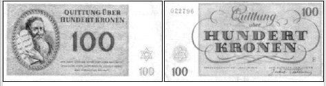 Diese großartigen Theresienstädter Geldscheine, komplett mit Wasserzeichen, belegen die hohe Qualität der dortigen Gelddruckerei.
