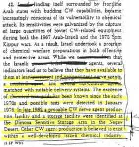 Ausschnitt CIA-Bericht über Israels geheimes Chemiewaffen-Arsenal. In einem weiteren Vorstoß nach der Syrien-Vereinbarung wird dieses Vernich-tungsarsenal des Terror-Staates vor die Vereinten Nationen gebracht werden.