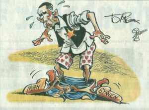 """Auf den Punkt gebracht mit dem Zeichenstift. """"Obongo"""" wurden die Hosen samt Coltgürtel runtergezogen - von der eigenen Militärführung. Er steht da wie ein nackter Depp!"""