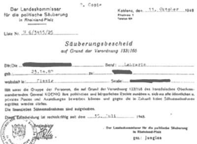Aufhebung der Säuberungsfeme gegen eine Lehrerin aus Sinzig/RLP im Oktober 1948