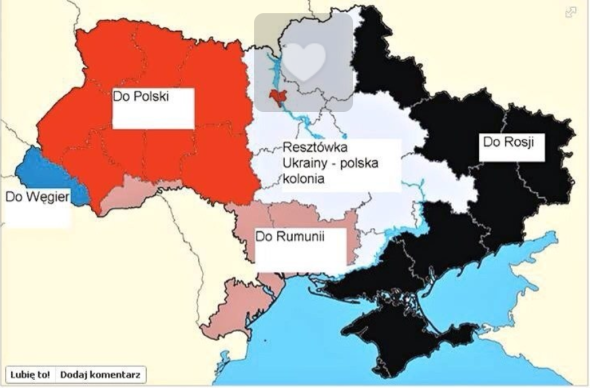 Rot= direkt an Polen Blau= an Ungarn dunkerosa= an Rumänien schwarz = an Rußland weiß= polnisches Protektorat