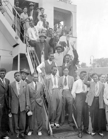 """Auf der """"Empire Windrush"""" nach Großbritannien übersiedelte Jamaikaner."""
