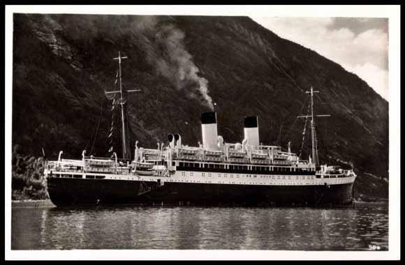 """Das KdF-Schiff """"Monte Rosa"""" 1935 in Nordland, Norwegen."""