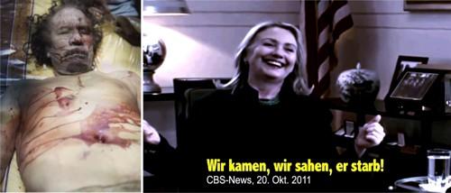 Hillary jauchzte vor obszöner Freude über das sodomierte Schlachten Gaddafis
