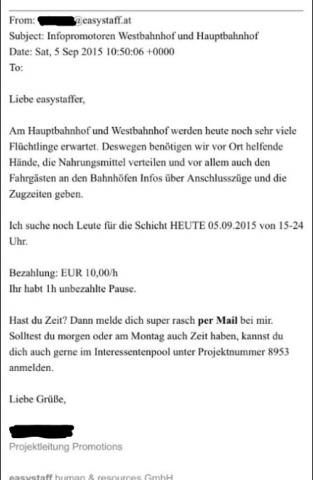 """Am Wiener Westbahnhof werden bzw. wurden bezahlte """"Flüchtlingshelfer"""" eingesetzt. Foto: E-Mail von easystaff.at"""