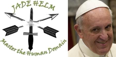 """Das Militär-Emblem für die Militärübung """"Jade Helm"""", das größte Manöver innerhalb der USA in der amerikanischen Militärgeschichte, sagt alles aus. """"Master the Human Domain"""", also """"Die Beherrschung der Menschheit"""", lautet der Auftrag. Es geht also um die Unterwerfung der Menschheit im großen Sabbat-Jahr 2015. Der Papst ist mit von der Partie."""