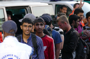 Migranten sehen Schlange (Bild: Beshad Miller)