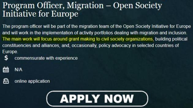 Screenshot Bewerbungsformular Open Society: »Die Hauptarbeit besteht in Fördergelder ausgeben (›grant making‹) an Organisationen der Zivilgesellschaft«