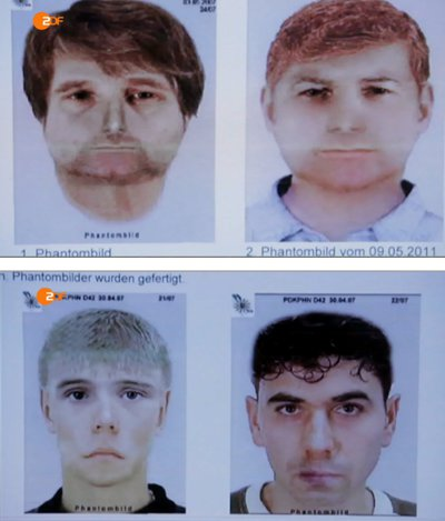 So sehen die Mörder der Polizistin Kiesewetter aus. Die Phantombilder wurden alle nach den zuverlässigen Zeugenbeschreibungen angefertigt. Man vergleiche die Gesichter mit Böhnhardt und Mundlos.