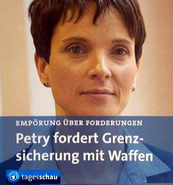 Die AfD-Vorsitzende Frauke Petry, die sich bisher eigentlich in der Öffentlichkeit sehr merkel-nah darstellte, die, wie ihr Vorgänger Lucke, Beifall von den Feinden des deutschen Volkes ersehnte, wagte jetzt den Sprung ins deutsche Lager. Sie zerschnitt das anbiederische Lügenband mit dem Merkel-System und forderte den Waffeneinsatz an der Grenze gegen die fremden Invasoren. Die Lügenpresse hat jetzt ihr neues Hetzobjekt gefunden. Doch genau diese klare Linie wird der AfD einen weiteren Stimmenzuwachs bei den anstehenden Landtagswahlen bringen. Sie müssen jetzt gewaltig fälschen, um die AfD unter 25 Prozent zu halten. Die neue Zeit könnte beginnen. Die Zeit der Lüge geht zu Ende.