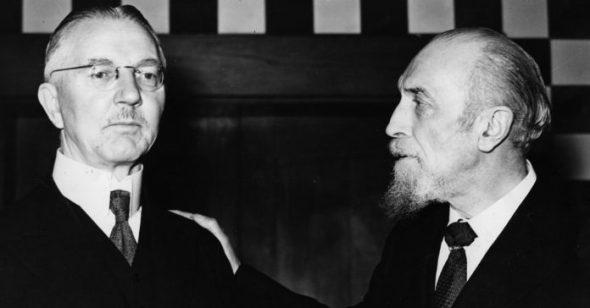 Hjalmar Schacht, Hitlers Finanzminister und Montagu Norman, Gouverneur der Bank of England von 1920 bis 1944