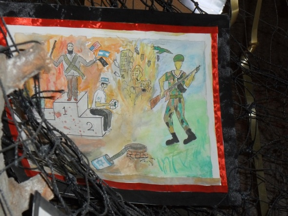 Eine syrische Kinderzeichnung zeigt die Hintergrundmächte des Konfliktes auf