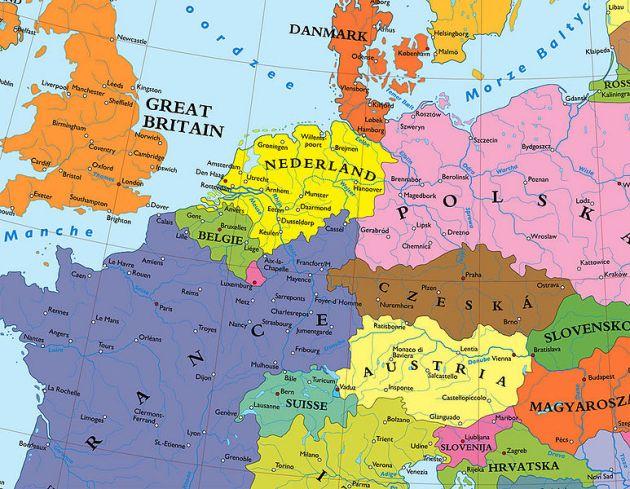 Moderne Karte, auf Kaufmans Ideen basierend. Ein Unterschied besteht daran, daß hier nun Österreich als Staat überlebt.