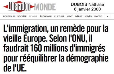 """Der Flüchtlings-Tsunami zur Ausrottung der weißen Menschen Europas wurde bereits im Jahr 2000 von der jüdischen Weltlobby beschlossen. Ein von Joseph-Alfred Grinblat ausgearbeiteter Plan wurde den Verein-ten Nationen zur Auftragserteilung an die europäischen Vasallen-Staaten übergeben LIBÉRATION (Paris) titelte damals (Bild): """"Die Einwande-rung, ein Heilmittel für altes Europa. Die Vereinten Nationen sollen mit 160 Millionen Einwanderern die EU-Demographie nachjustieren"""". Zu diesem Zweck wurden ein Jahr später die WTC-Türme in New York gesprengt und die 911-Lüge erfunden. Mit Hilfe der 911-Lüge konnte der """"Weltbürgerkrieg"""" vom damaligen US-Präsidenten George W. Bush ent-facht werden, womit die Weichen zur Produktion der nötigen Migrations-ströme gestellt wurden. Nach Europa sollen schließlich 160 Millionen fremde Ethnien gepresst werden, und diese Flutmassen lassen sich nur durch Kriege und gesteuerte Armut erzeugen."""