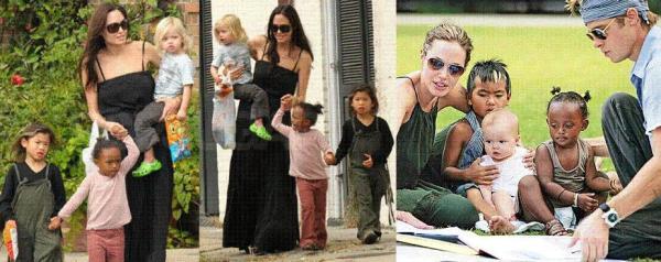 Angelina Jolie mit ihrer Familie
