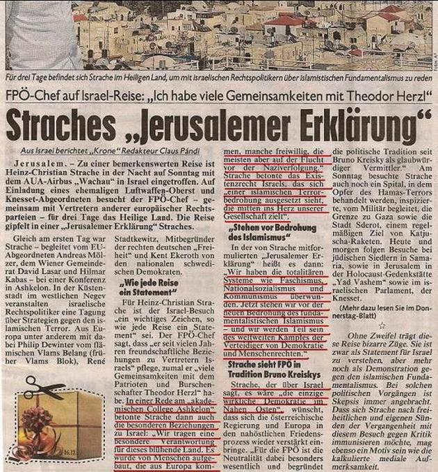H-C Strache und die Jerusalemer Erklärung (anklicken zum vergrößern)
